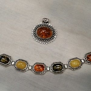 Jewelry - Sterling Silver and Amber Pendant and Bracelet